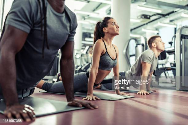 young athletic people stretching in cobra pose at health club. - yoga studio stock pictures, royalty-free photos & images
