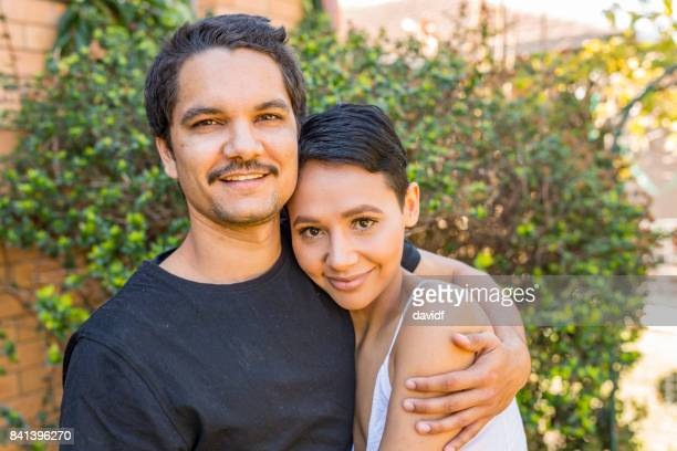 Young Attractive Australian Aboriginal Couple at Home
