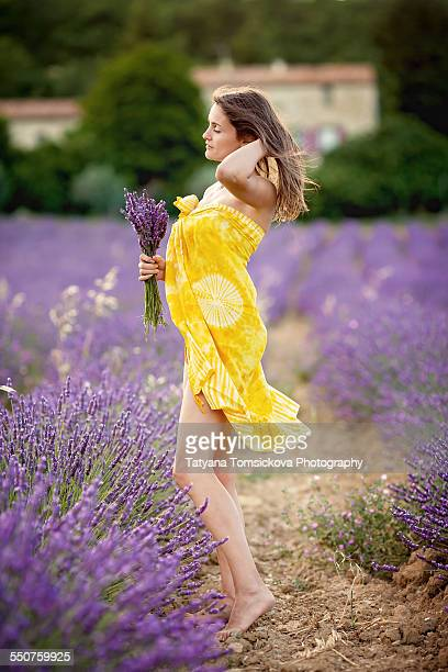 Young attractive woman in lavende field