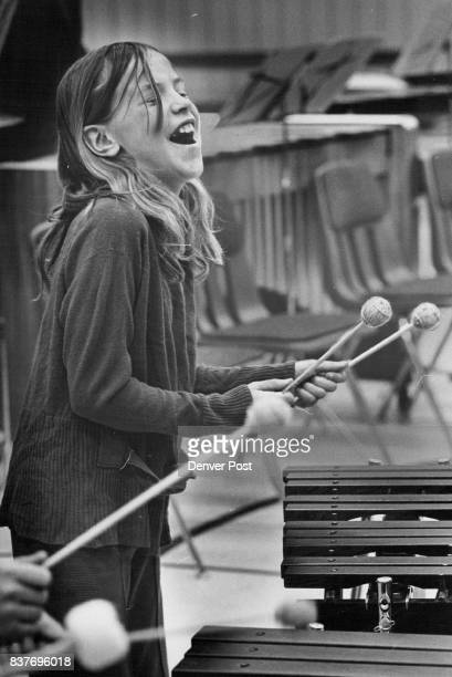 Young Audiences Inc Linda Wiswell has a ball as she plays the xylophone with the percussion group during the concert There is always a close rapport...