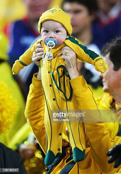 A young Australian fan looks on during match 23 of the IRB 2011 Rugby World Cup between Australia and the USA at Wellington Regional Stadium on...