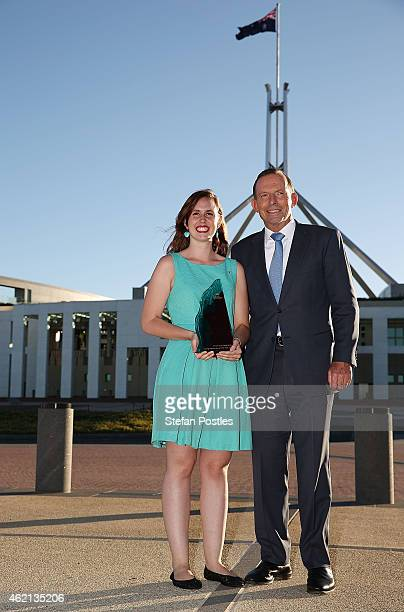 Young Australian of the Year Drisana LevitzkeGray poses with Prime Minister Tony Abbott during the 2015 Australian of the Year Awards at Parliament...