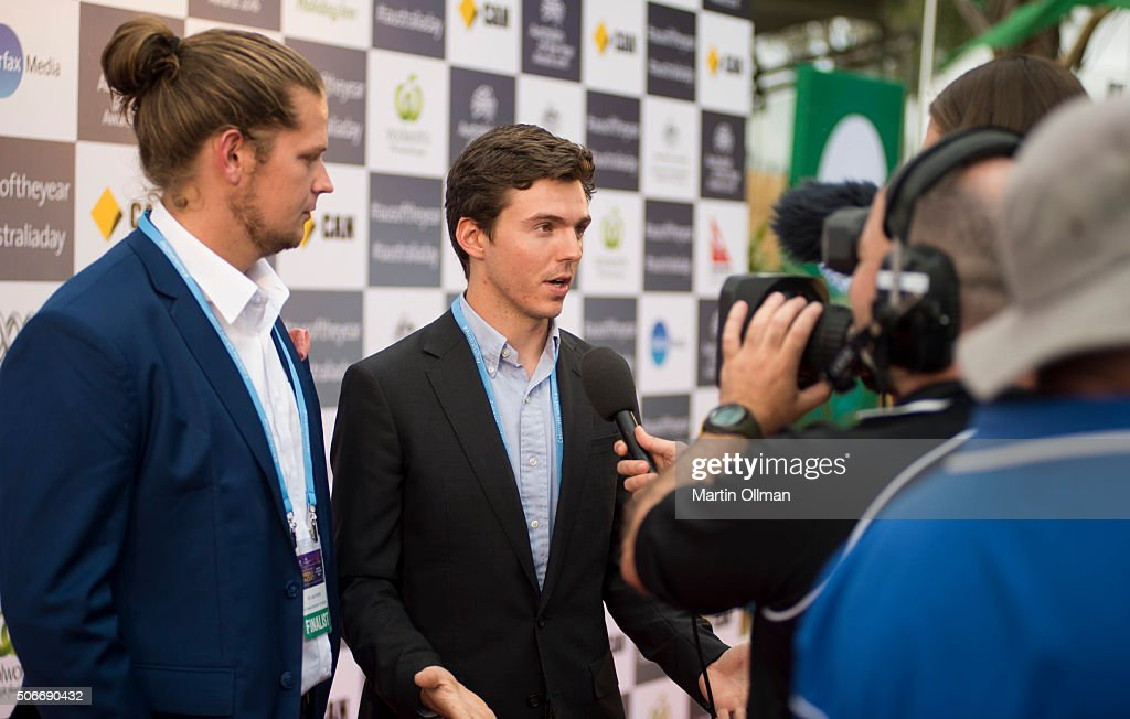 Young Australian of the Year Nic Marchesi & Lucas Patchett during the Australian of The Year Awards 2016 at Parliament House on January 25, 2016 in Canberra, Australia.
