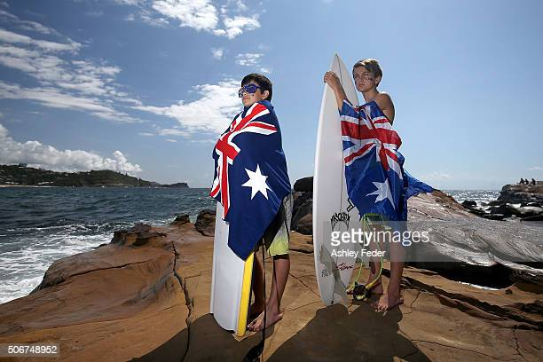 Young Australians celebrate Australia Day on January 26 2016 in Avoca Beach Australia Australia Day formerly known as Foundation Day is the official...
