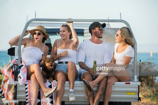 young australians with car at the beach - australian kelpie stock pictures, royalty-free photos & images