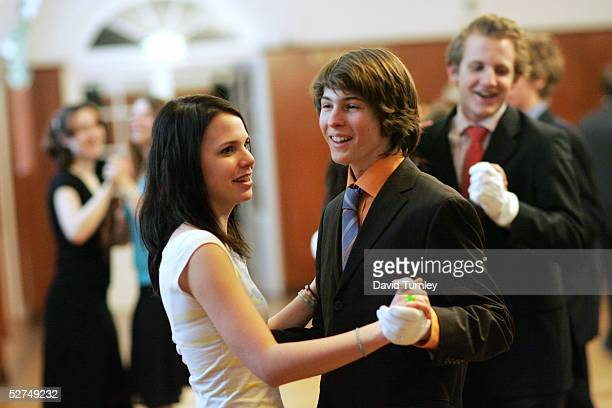 Young Austrians learn classical dance including the waltz at the famous Elmayer School on March 18 2005 in Vienna Austria The students of the Elmayer...