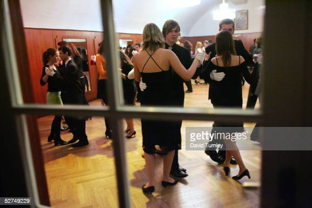 Young Austrians learn how to waltz at the famous Elmayer School on March 18 2005 in Vienna Austria The students of the Elmayer School are children of...