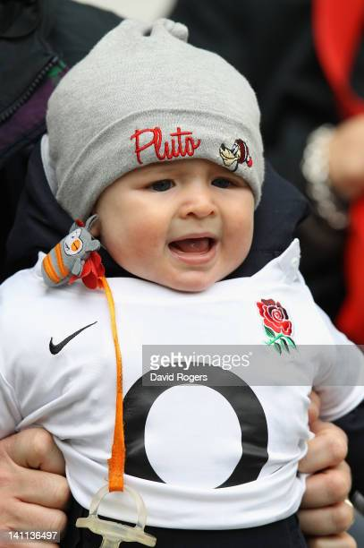 A young baby cries prior to the RBS 6 Nations match between France and England at Stade de France on March 11 2012 in Paris France