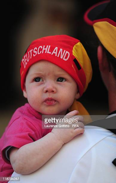 Young baby with his mother prior to the FIFA Women's World Cup 2011 Group A match between France and Germany at Borussia Park on July 5, 2011 in...