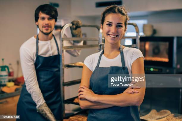 Young bakers at the kitchen