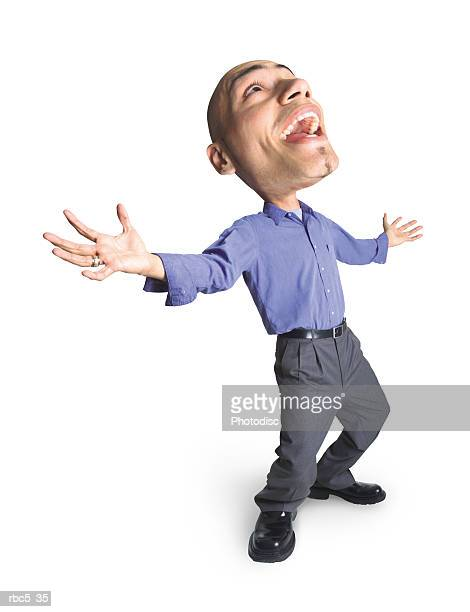 young bald ethnic looking man wearing business casual leans back hands spread head back in laughter