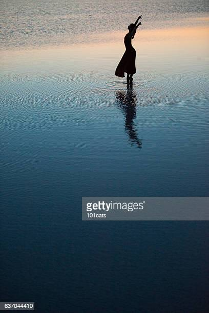 young ballerina dancing on the salt lake - tulle netting stock pictures, royalty-free photos & images