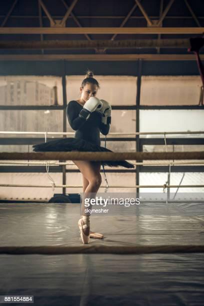 jovem bailarina com luvas de boxe em pé em posição de combate no ringue. - boxe feminino - fotografias e filmes do acervo