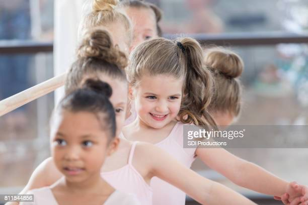 Young ballerinas practice for recital