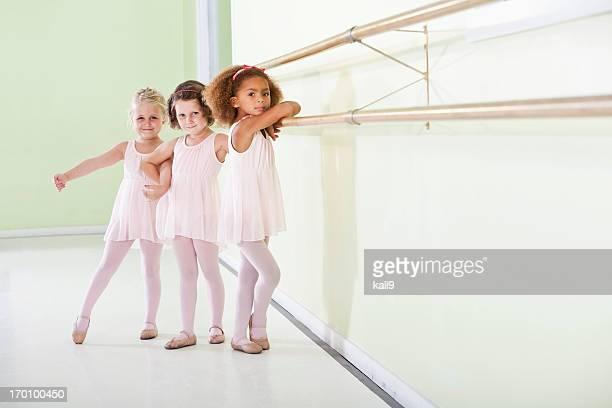 Young ballerinas standing in dance studio