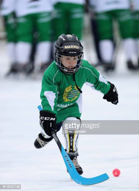 A young Bandy hockey player ahead of a visit by Prince William Duke of Cambridge and Catherine Duchess of Cambridge where they will learn more about...
