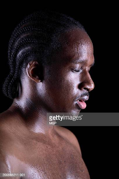 young bare chested man covered in sweat, close-up - barechested bare chested ストックフォトと画像