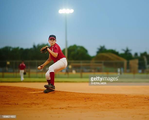 young baseball league pitcher