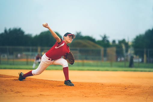 young baseball league pitcher 155601842