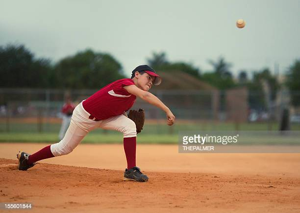 young baseball league pitcher - baseball pitcher stock photos and pictures