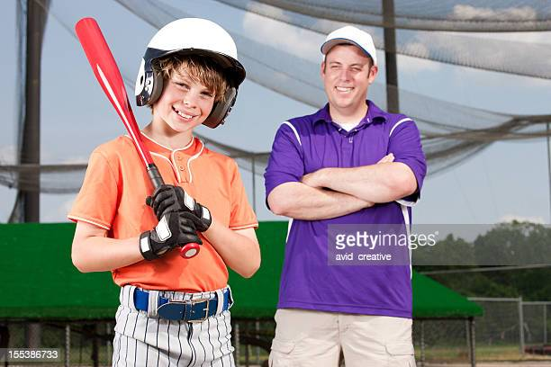 Young Baseball Player and Proud Father