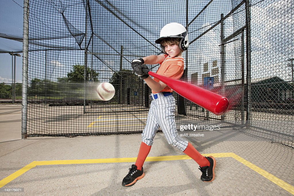 Young Baseball Swing in Batting Cage : Stock Photo