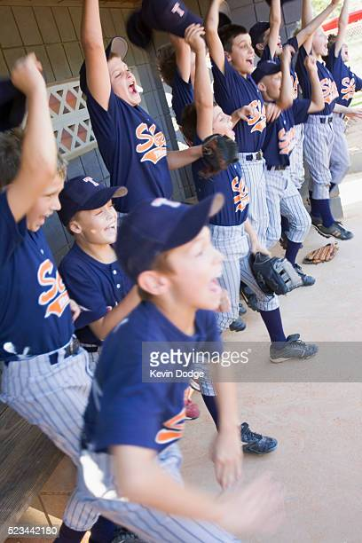 Young Baseball Team Cheering