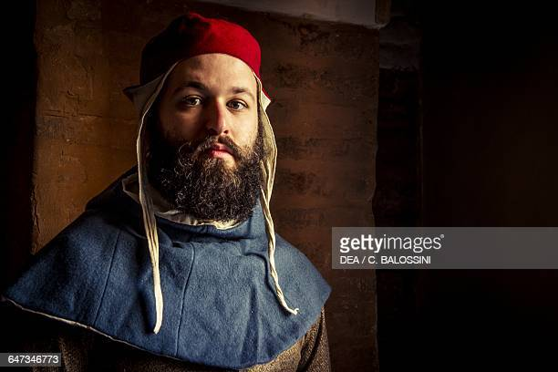 Young bearded man with a hat Central Italy mid14th century Historical reenactment