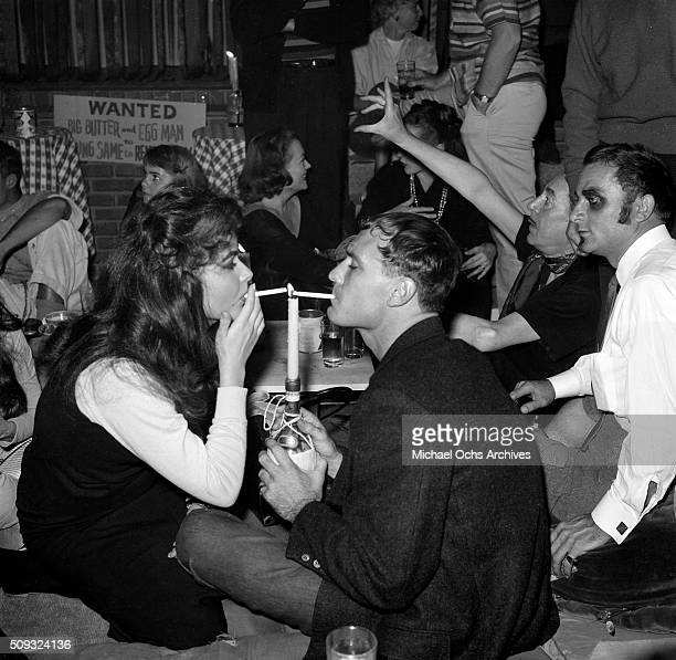 Young beatniks at Pandora's Coffee House on Sunset Boulevard in Los AngelesCalifornia n