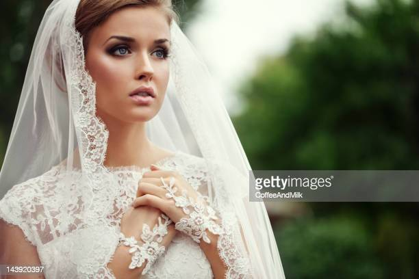 young beautiful bride - veil stock photos and pictures
