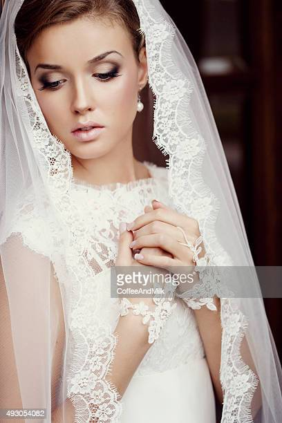 young beautiful bride - wedding veil stock photos and pictures