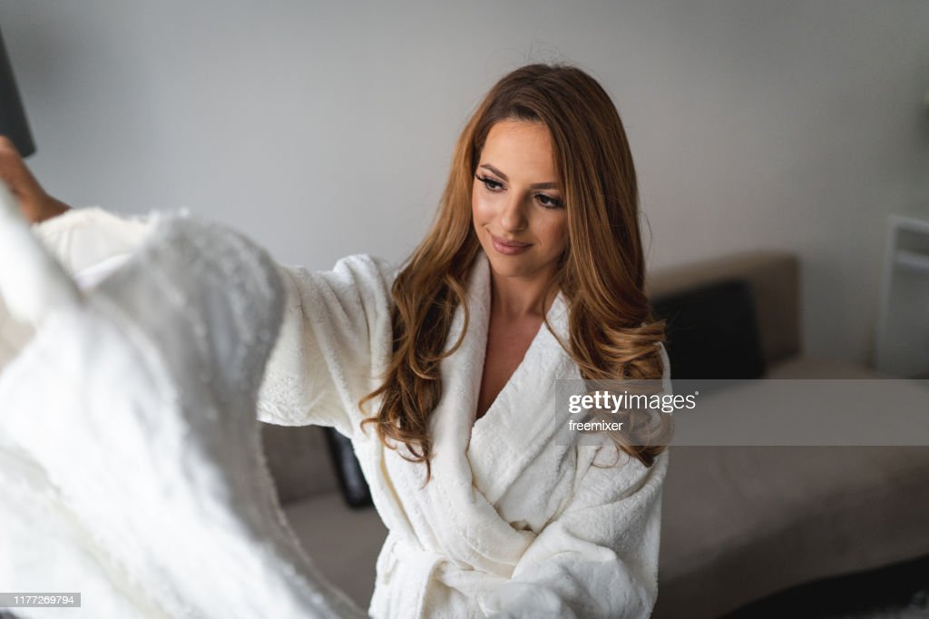 Young Beautiful Bride Preparation On Wedding Day High Res Stock Photo Getty Images