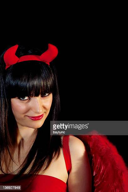 young beautiful devil - devil costume stockfoto's en -beelden