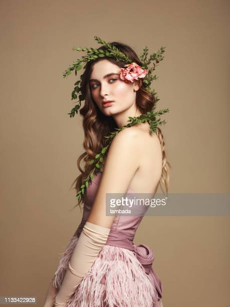 young beautiful girl and flower wreath - beige dress stock pictures, royalty-free photos & images