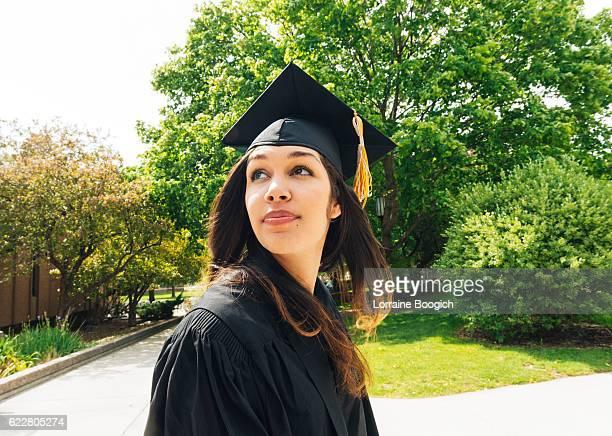 Young Beautiful Hopeful American Hispanic Women Celebrating Graduation Day USA