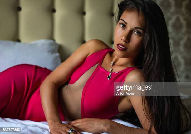 Young beautiful lady in bedroom