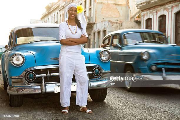 Young, Beautiful Woman and Vintage Cars, Havana, Cuba
