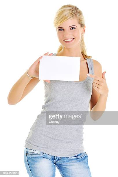 Young beautiful woman holding a business card