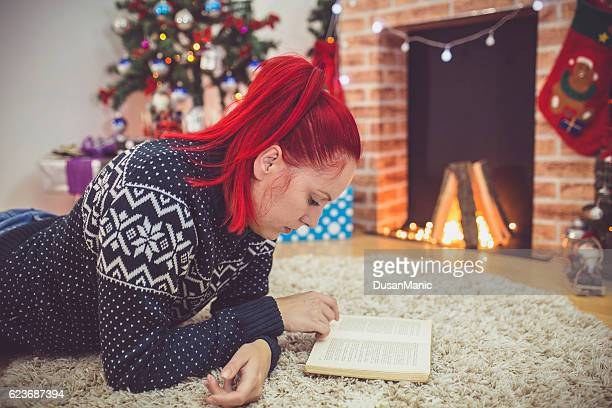 Young beautiful woman in a Christmas setting