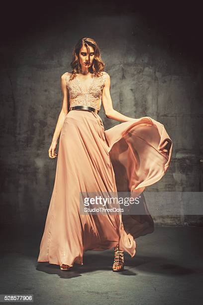 Young Beautiful Woman In Evening Dress