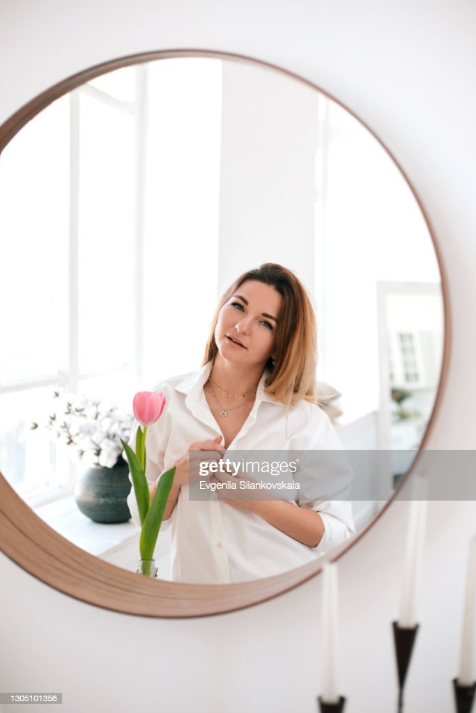 Woman In White Man s Shirt stock image. Image of