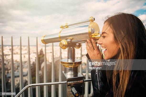 Young beautiful woman on observation deck
