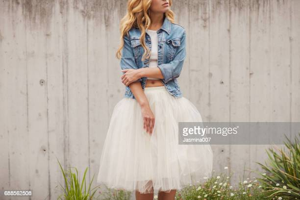 young beautiful woman outdoors - tulle netting stock pictures, royalty-free photos & images