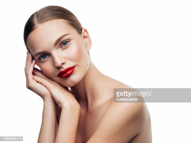 young beautiful woman - red lipstick stock pictures, royalty-free photos & images