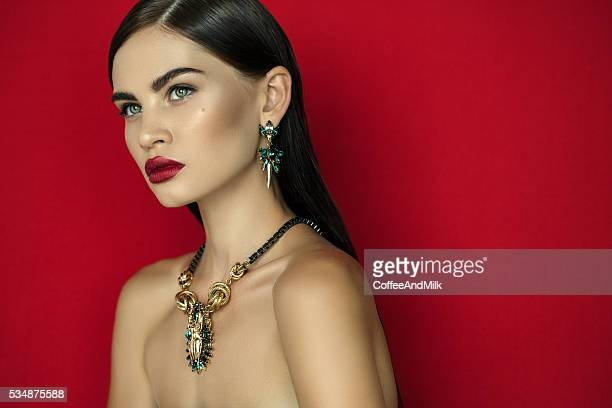 young beautiful woman - choker stock pictures, royalty-free photos & images