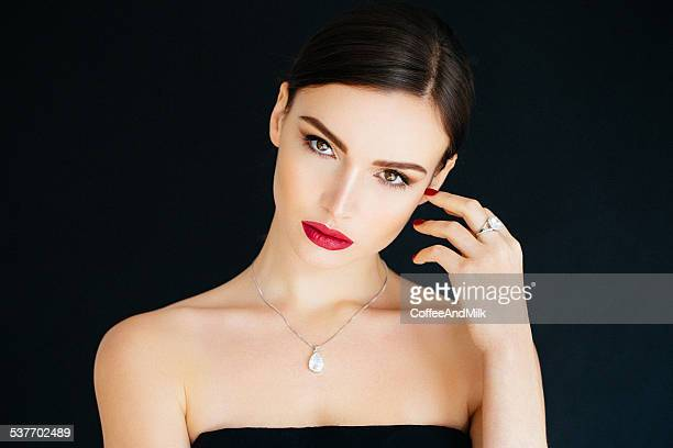 young beautiful woman - necklace stock pictures, royalty-free photos & images