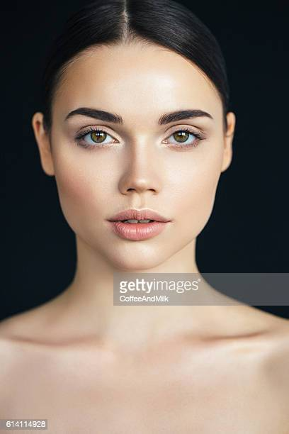young beautiful woman - brown hair stock pictures, royalty-free photos & images