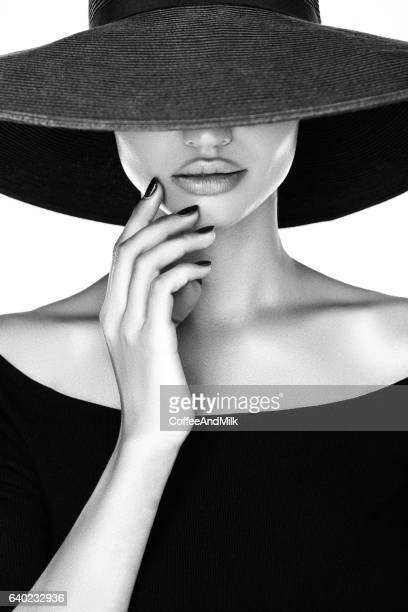 young beautiful woman - hat stock photos and pictures
