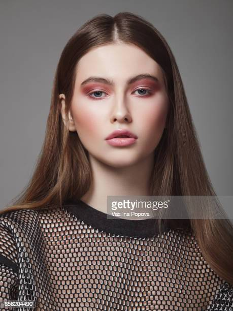 young beautiful woman - mesh shirt stock photos and pictures