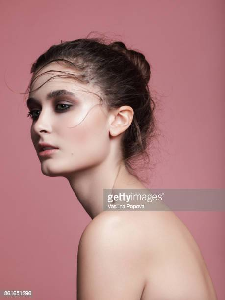young beautiful woman - eye make up stock photos and pictures